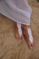 Whtie Beach Fashion Crochet Barefoot Sandals L98002-2