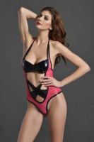 Black Wet Look with Pink Wild Net Romper L8016-1