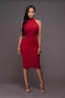 Chiarina Red Gold Stud Midi Dress L36121-2