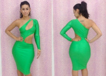 Green One-shoulder Cutout Club Bodycon Dress L2670-3