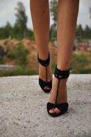 Black Anklet Crochet Barefoot Sandals  L98007