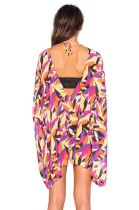 Colorful Leaves Print V Neck Summer Beach Cover-up L38316