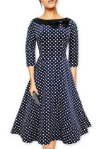 Vintage Slash Neck Bowknot Polka Dot Skater-dress L36069-2