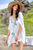 Sheer White Swimsuit Coverup with Multicolor Floral V Neckline L