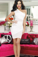 Plus Size Mesh and Knit One Shoulder Dress P2315-2