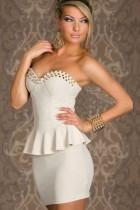 Sexy White Strapless Bandage Peplum Tube Club Mini Dress Metal N
