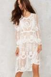 Long Sleeve Floral Lace Midi Dress L38308