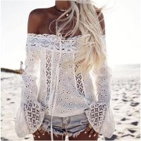 Solid Lace Floral Off Shoulder Blouse without Necklace L581-2