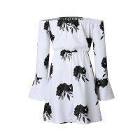Black White Off Shoulder Floral Print Drawstring Vacation Dress 28237-2