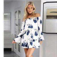 Blue White Off Shoulder Floral Print Drawstring Vacation Dress L28237-1