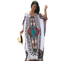 Vintage Ethnic Print Kaftan Maxi Dress 384937