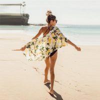 Lemon Printed Kimono Cardigan Beach Dress 38496