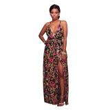 Fanika V Neck Black Embroidered Romper Maxi Dress 51423-2