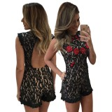 Embroidered Lace Backless Romper 55345