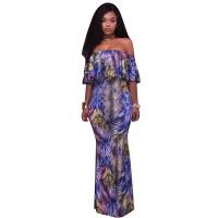 Rory Blue Palm Leaf Print Off The Shoulder Maxi Dress 51424