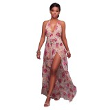 Fanika V Neck Nude Embroidered Romper Maxi Dress 51423-1