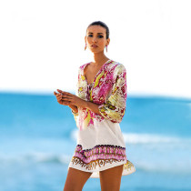 Serpentine Print Hi-lo Hem Beach Cover-ups Sundresses 384947-1