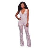 Becky White Crochet Overlay Jumpsuit 55350-1