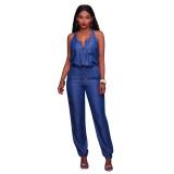 Leanne Blue Chambray Front Zipper Jumpsuit 55351
