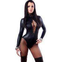 Sexy PVC Faux Leather Dress Bodysuit Clubwear Catwoman Dance Suit 60808
