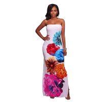 Mahana White Multi-Color Floral Print Maxi Dress 5022-1