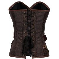 Steampunk Renaissance Leather Buckle Chain Lace Brocade Corset 42680