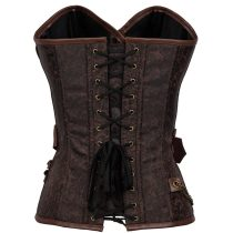 Steampunk Renaissance Leather Buckle Chain Lace Brocade Corset 42680