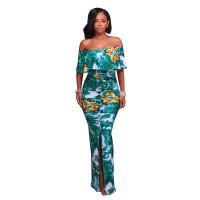 Francoise Green Multi-Color Floral Print Off-The-Shoulder Maxi Dress 5023-1