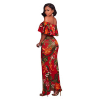 Francoise Red Multi-Color Floral Print Off-The-Shoulder Maxi Dress 5023-2