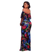 Francoise Black Multi-Color Floral Print Off-The-Shoulder Maxi Dress 5023-3