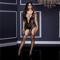 Fishnet And Corset Front Suspender Bodystocking