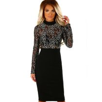 Fame And Fortune Black And Gold Embroidered Bodycon Midi Dress
