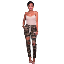 Leesa Camo Destroyed Denim Jeans