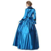 Civil War Period Ball Gown Costume Dress Blue Black Satin M-XL Hoop Skirt