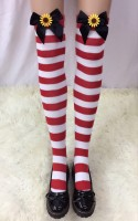 Ladies Nylon Christmas Halloween Schoolgirl Striped Tights Stocking
