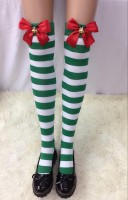 Striped Stockings With Black Bows and Bells