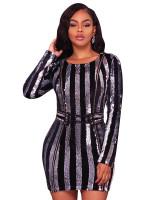 Silver Sequins Black Velvet Long Sleeves Lace Up Belted Dress