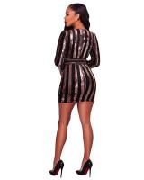 Rose Gold Sequins Black Velvet Long Sleeves Lace Up Belted Dress