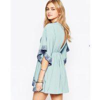 New Stock V-Neck Short Sleeve Slip Beach Dress