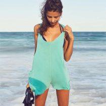 Light Green Sleeveless Beach Romper