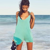 Light Green Sleeveless Beach Romper
