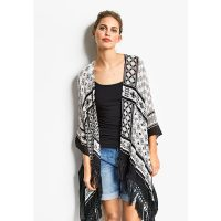 Black Tassel Chiffon Beach Cardigan