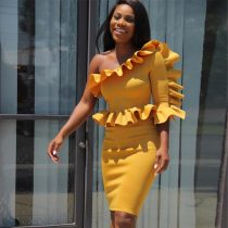 Ruffle One Sleeve Peplum Top Bodycon Dress