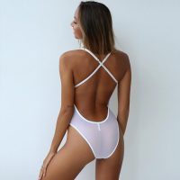 Sexy Mesh Lace Hollow-Out One-piece Halter Lingerie White