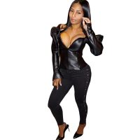 Womens Sexy Ruffles Faux PU Leather Slim Fit Jackets
