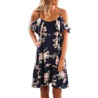 Women Summer Boho Party Beach Chiffon Short Mini Dress