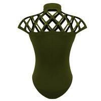 Womens Caged Neck Bodysuit Leotard Bandage Jumpsuit