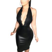 Sexy Backless Lace Spliced Black PU Leather Dress