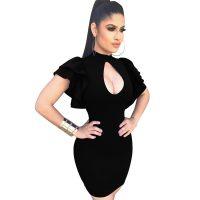 Pretty Turtleneck Ruffle Sleeves Hollow-out Black Mini Dress