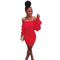 Red Ruffle Sleeve Slash Neck Bodycon Dress